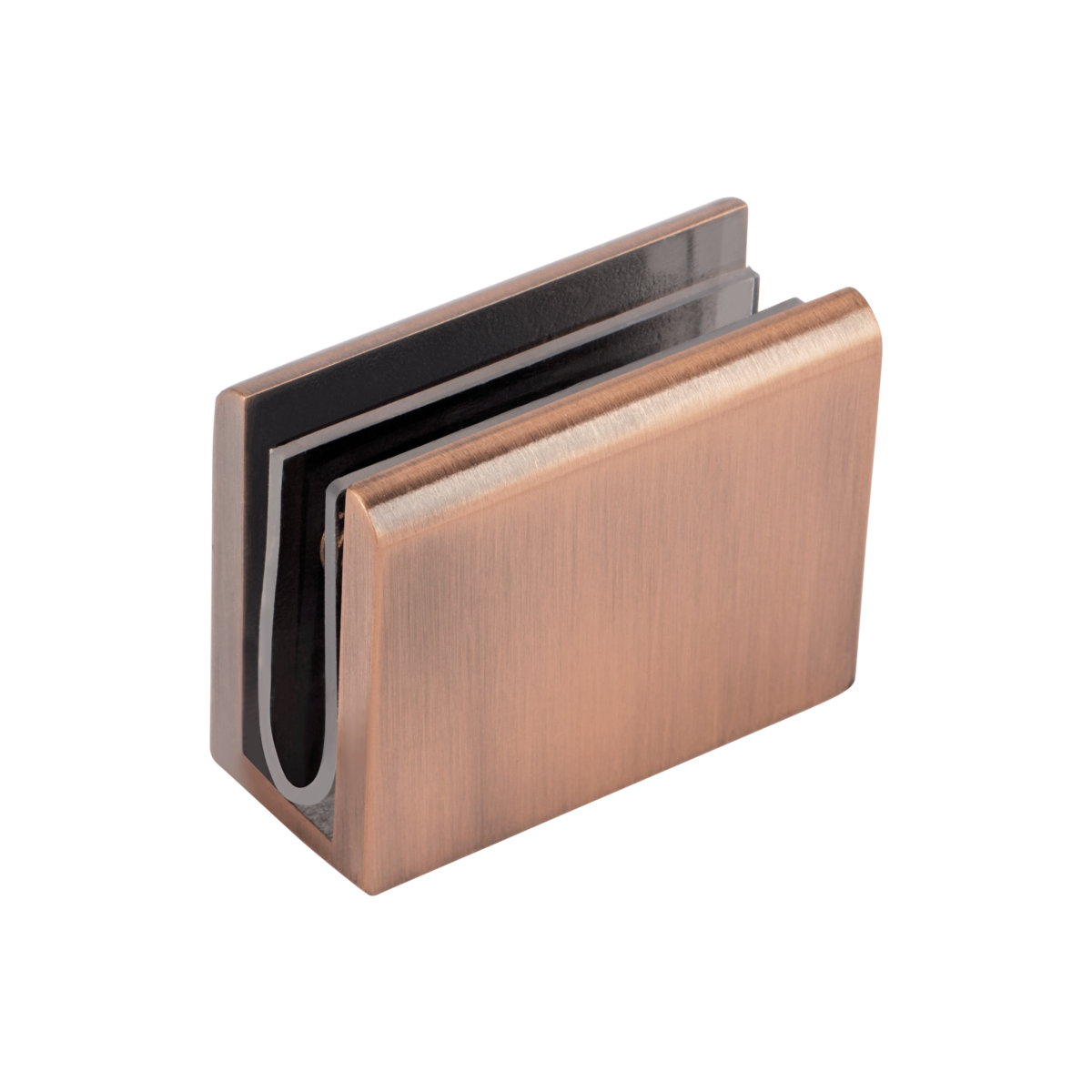 Pius Glass Panel Clip – Brushed Copper
